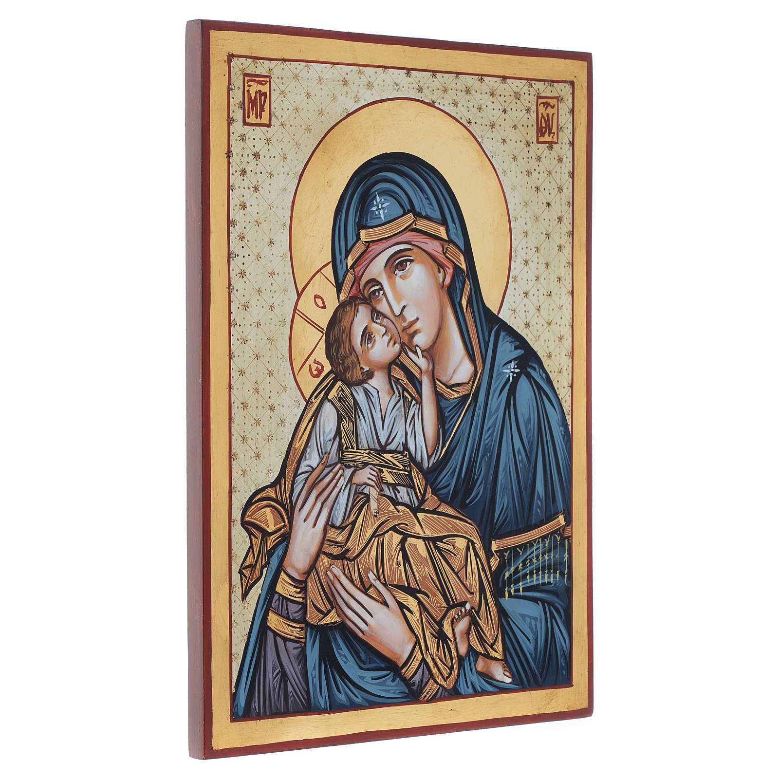 Icona dipinta rumena Madonna e Bambino 40x30 cm 4