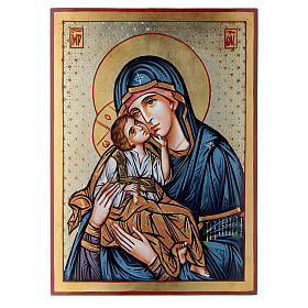 Icona dipinta rumena Madonna e Bambino 40x30 cm s1
