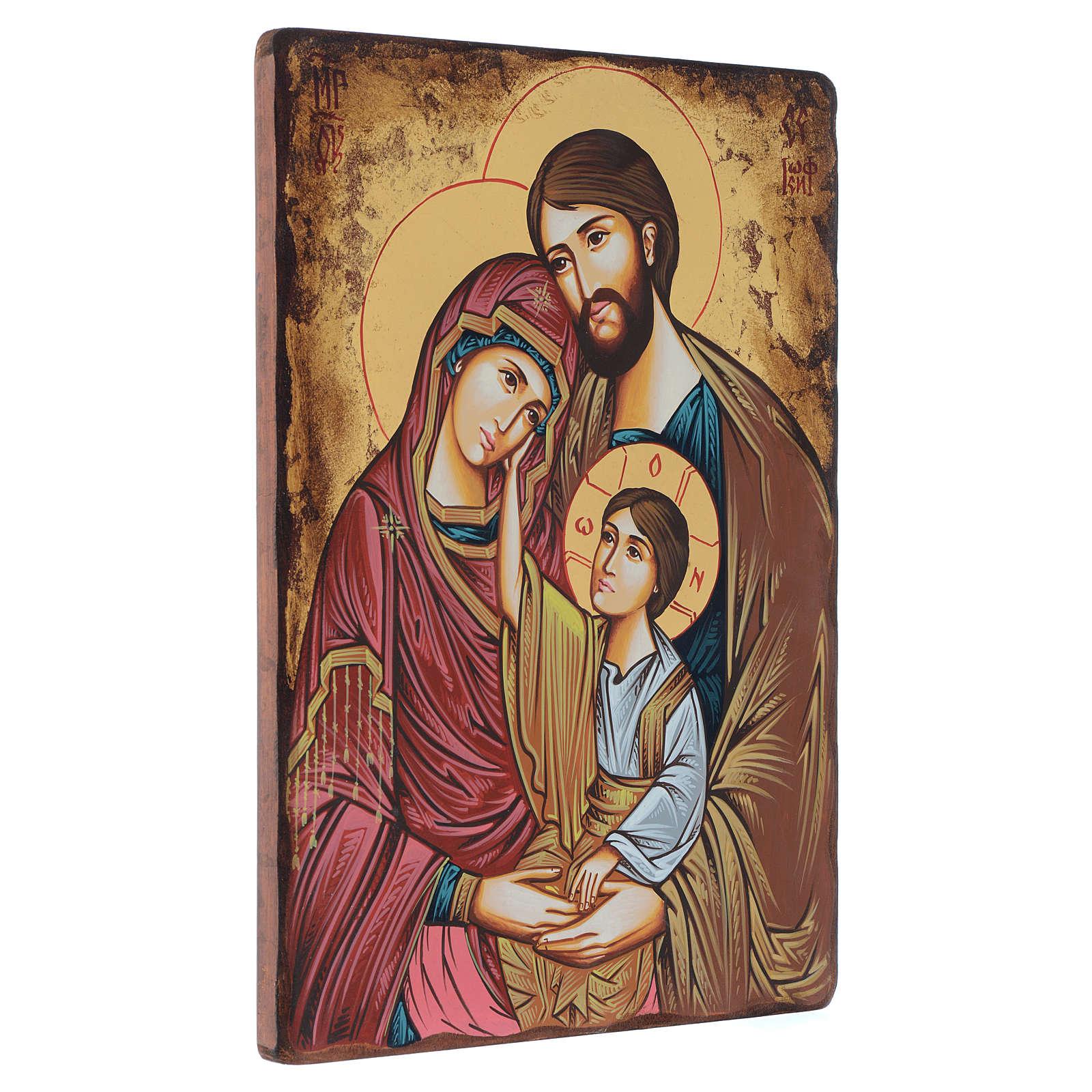 Icona dipinta rumena Sacra Famiglia 40x30 cm 4
