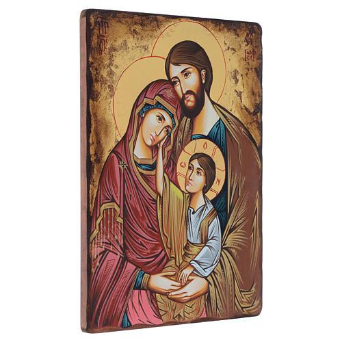 Icona dipinta rumena Sacra Famiglia 40x30 cm 2