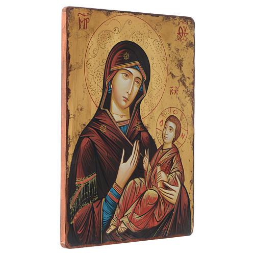 Icône peinte Roumanie Vierge à l'Enfant 40x30 cm