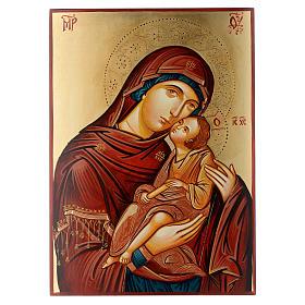 Icona rumena dipinta Madonna con bambino 40x30 cm s1