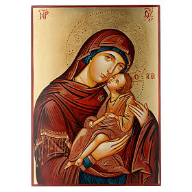 Rumanian hand-painted icons: Romanian hand painted icon Madonna and Child 40x30 cm
