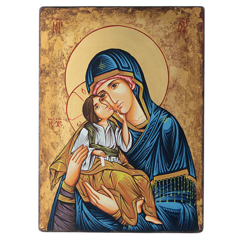 Romanian painted icon Madonna and Child 40x30 cm 1
