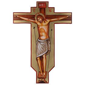 Croix icône peinte à la main sur bois 45x30 cm s1