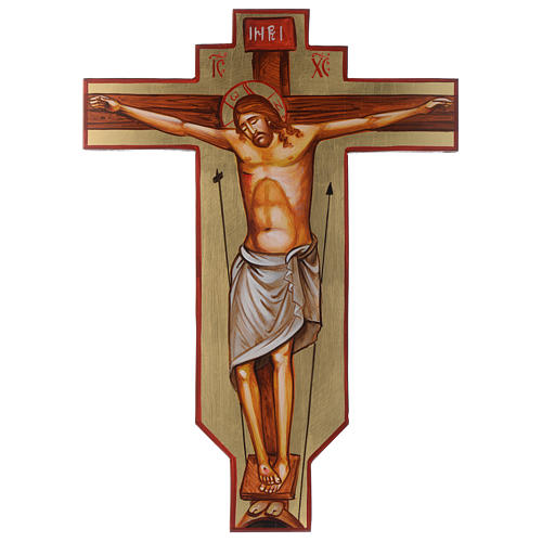 Croce icona dipinta a mano su legno 45x30 cm 1