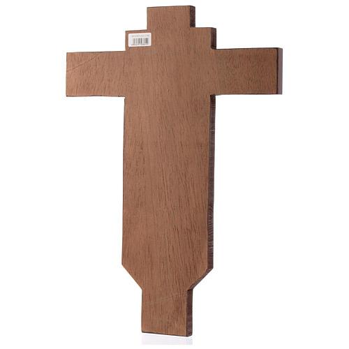 Croce icona dipinta a mano su legno 45x30 cm 3