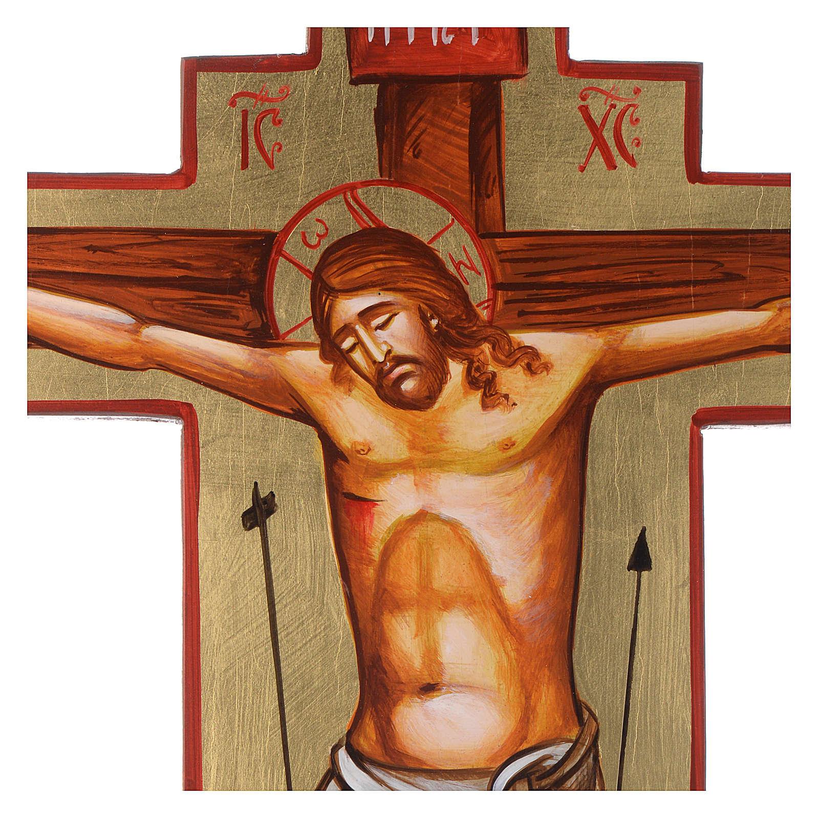 Cruz ícone pintado à mão sobre madeira 45x30 cm 4