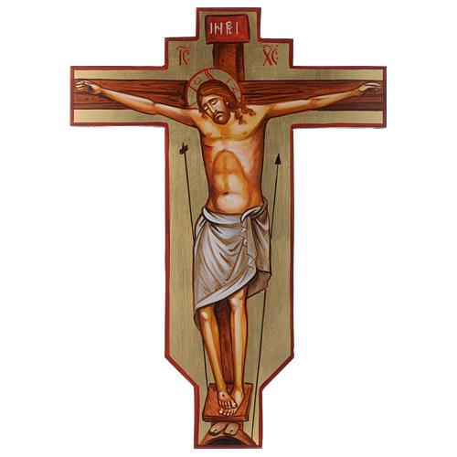Cruz ícone pintado à mão sobre madeira 45x30 cm 1