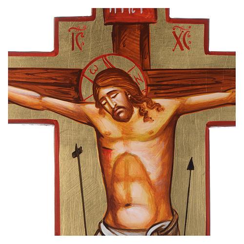 Cruz ícone pintado à mão sobre madeira 45x30 cm 2