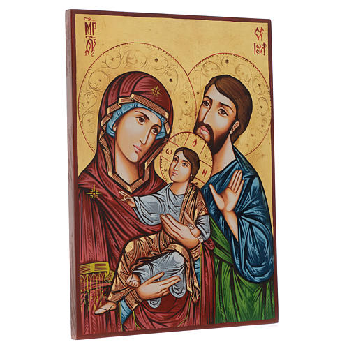 Ícone pintado à mão Sagrada Família 45x30 cm 3