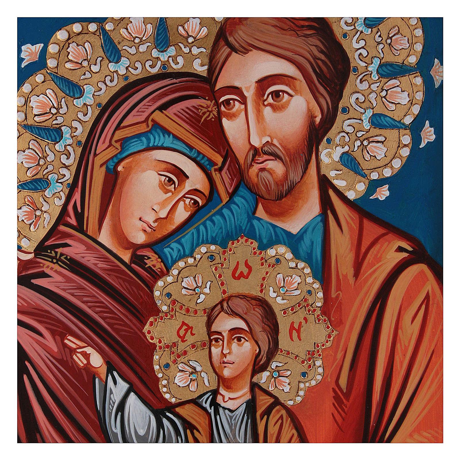 Icona Sacra Fam. dipinta a mano 4