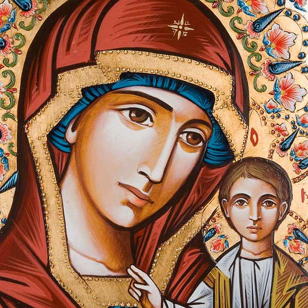 Icona Vergine di Kazan dipinta a mano 40x60 cm 4