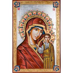 Icona Vergine di Kazan dipinta a mano 40x60 cm s1