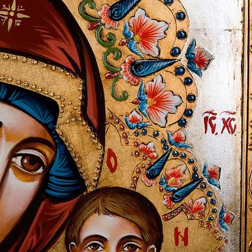 Icona Vergine di Kazan dipinta a mano 40x60 cm 3