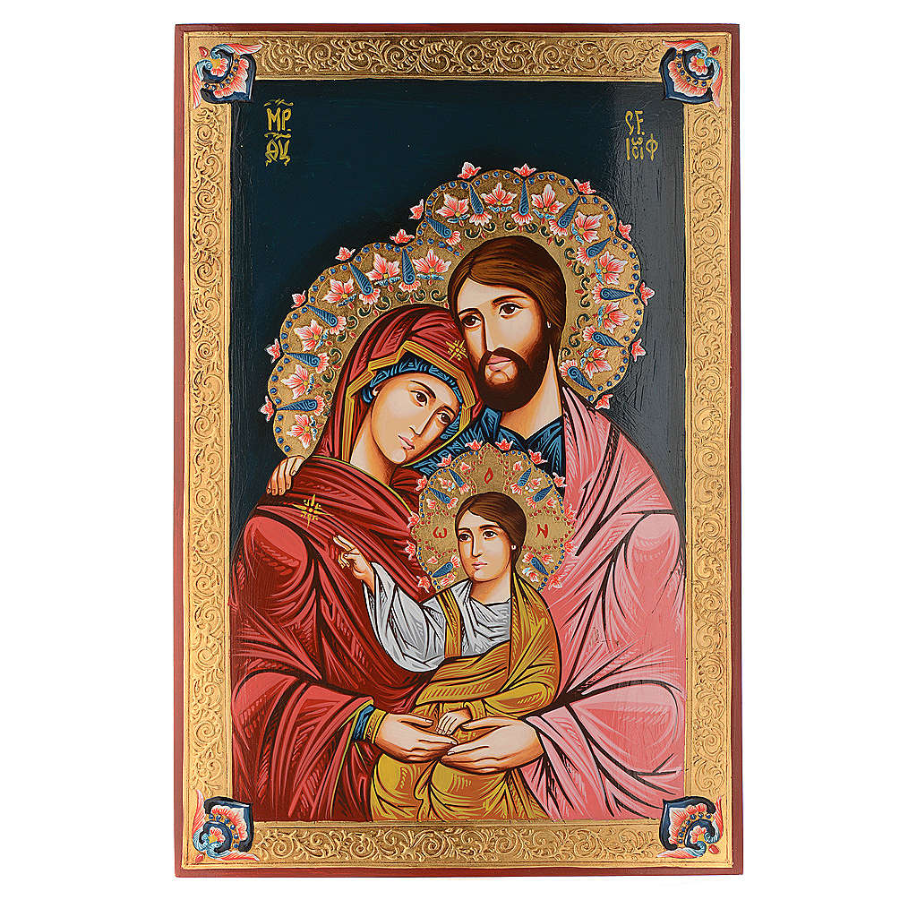 Icona Sacra Famiglia dipinta a mano 40x60 cm 4