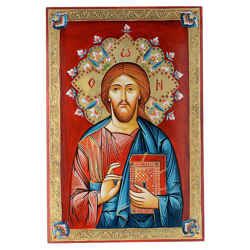 Icona dipinta a mano Pantocratore 40x60 cm 4