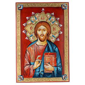 Icona dipinta a mano Pantocratore 40x60 cm s1