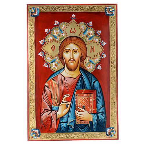 Icona dipinta a mano Pantocratore 40x60 cm 1