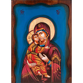 Rumanian hand-painted icons: Virgin of Vladimir icon, light blue background