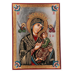 Rumanian hand-painted icons: Our Lady of perpetual help icon with polychrome decorations