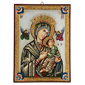Our Lady of perpetual help icon with polychrome decorations s1
