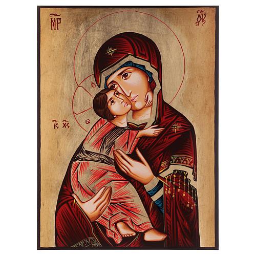 Icona Madonna di Vladimir manto rosso Romania 1