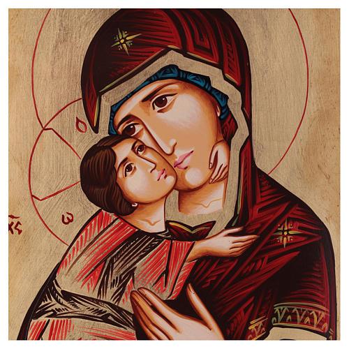 Icona Madonna di Vladimir manto rosso Romania 2