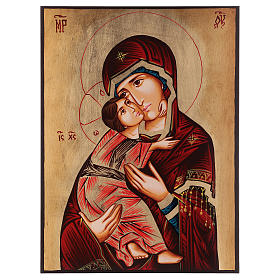 Rumanian hand-painted icons: Our Lady of Vladimir icon with red mantle