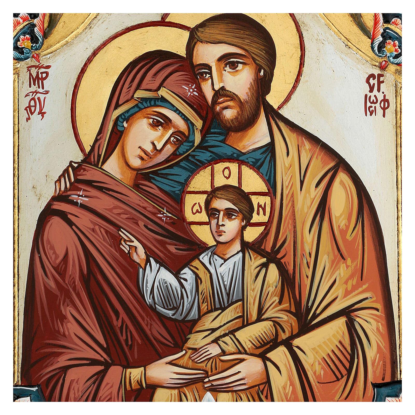Icona Sacra Famiglia Romania decoro policromo 4