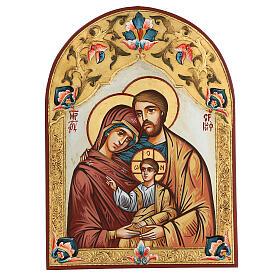 Icona Sacra Famiglia Romania decoro policromo s1
