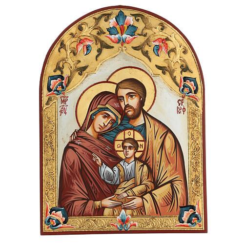 Icona Sacra Famiglia Romania decoro policromo 1