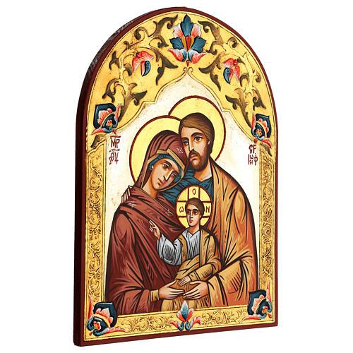 Icona Sacra Famiglia Romania decoro policromo 3