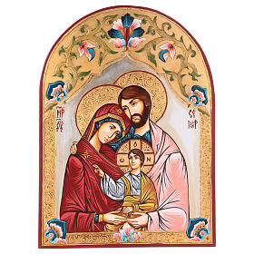 Rumanian hand-painted icons: Holy Family icon with polychrome decoration, Romania