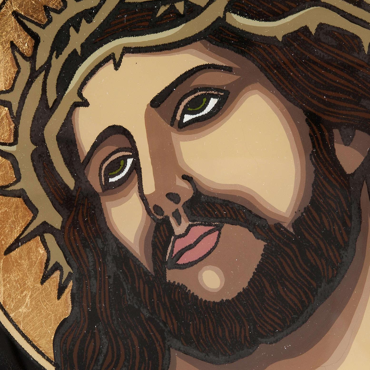 Icona dipinta su vetro Gesù incoronato di spine 4