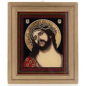 Icona dipinta su vetro Gesù incoronato di spine s1