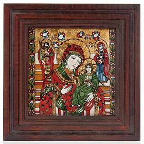 Icona dipinta su vetro Madre di Dio Odighitria s1