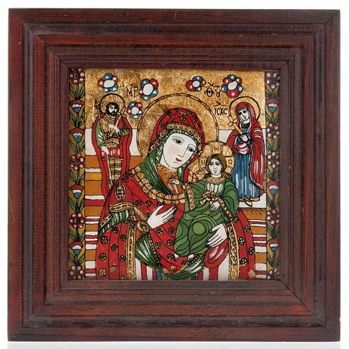Icona dipinta su vetro Madre di Dio Odighitria 1