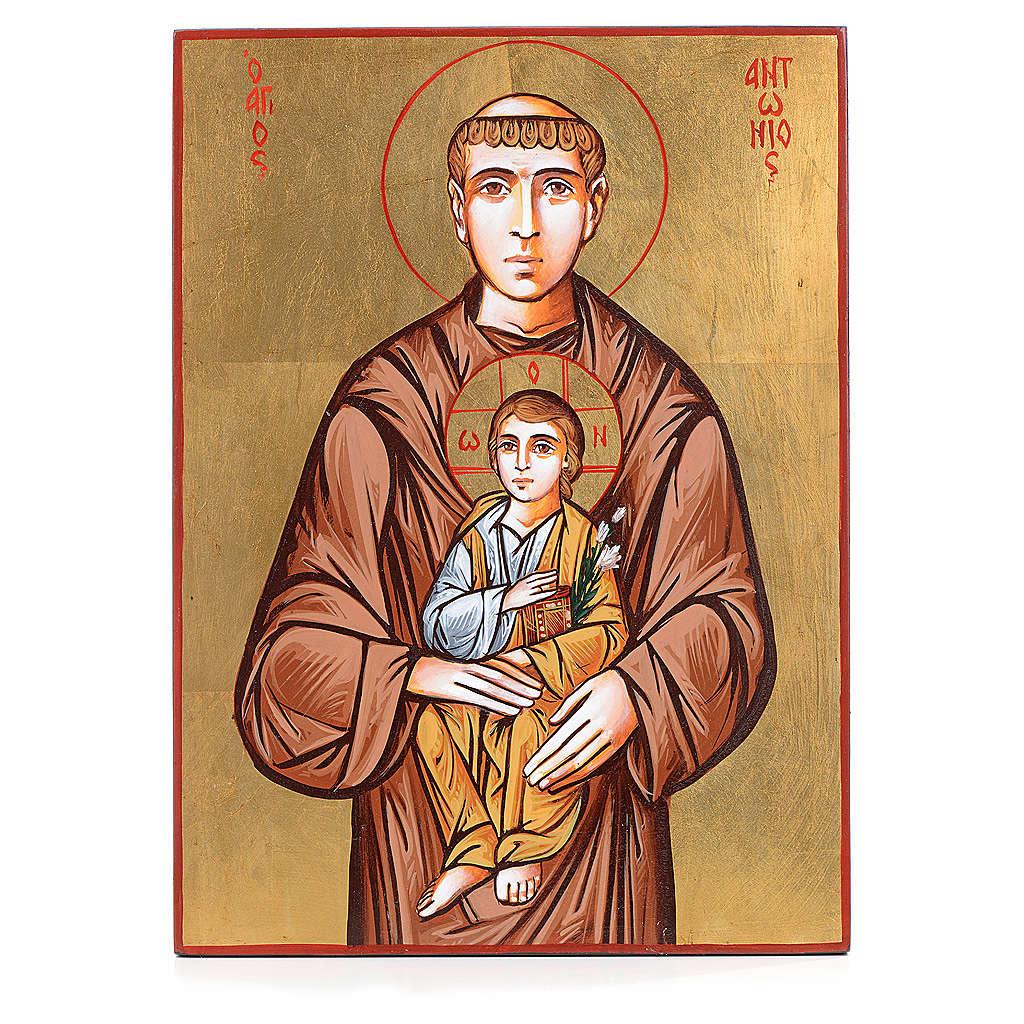 Icona dipinta Romania Sant'Antonio e bambino 32x44 cm 4