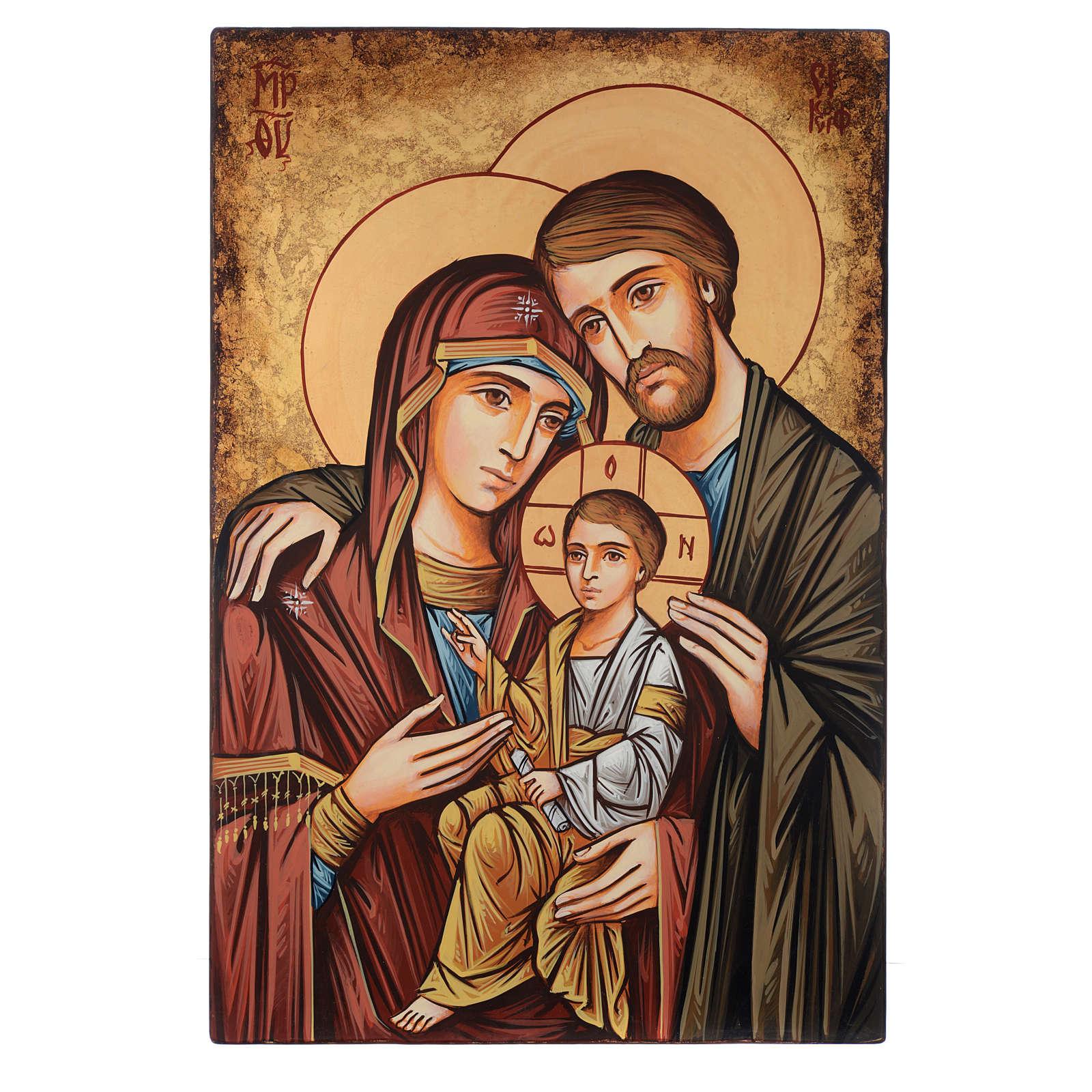 Icône Roumanie peinte à la main Sainte Famille 60x40 cm 4