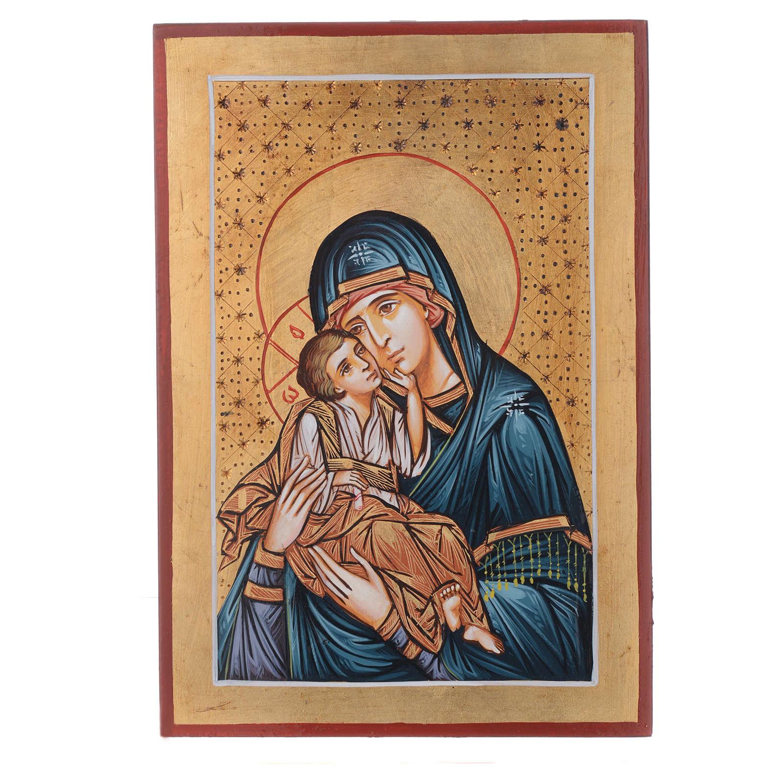 Icona Romania dipinta 32x22 cm Odigitria con decori 4