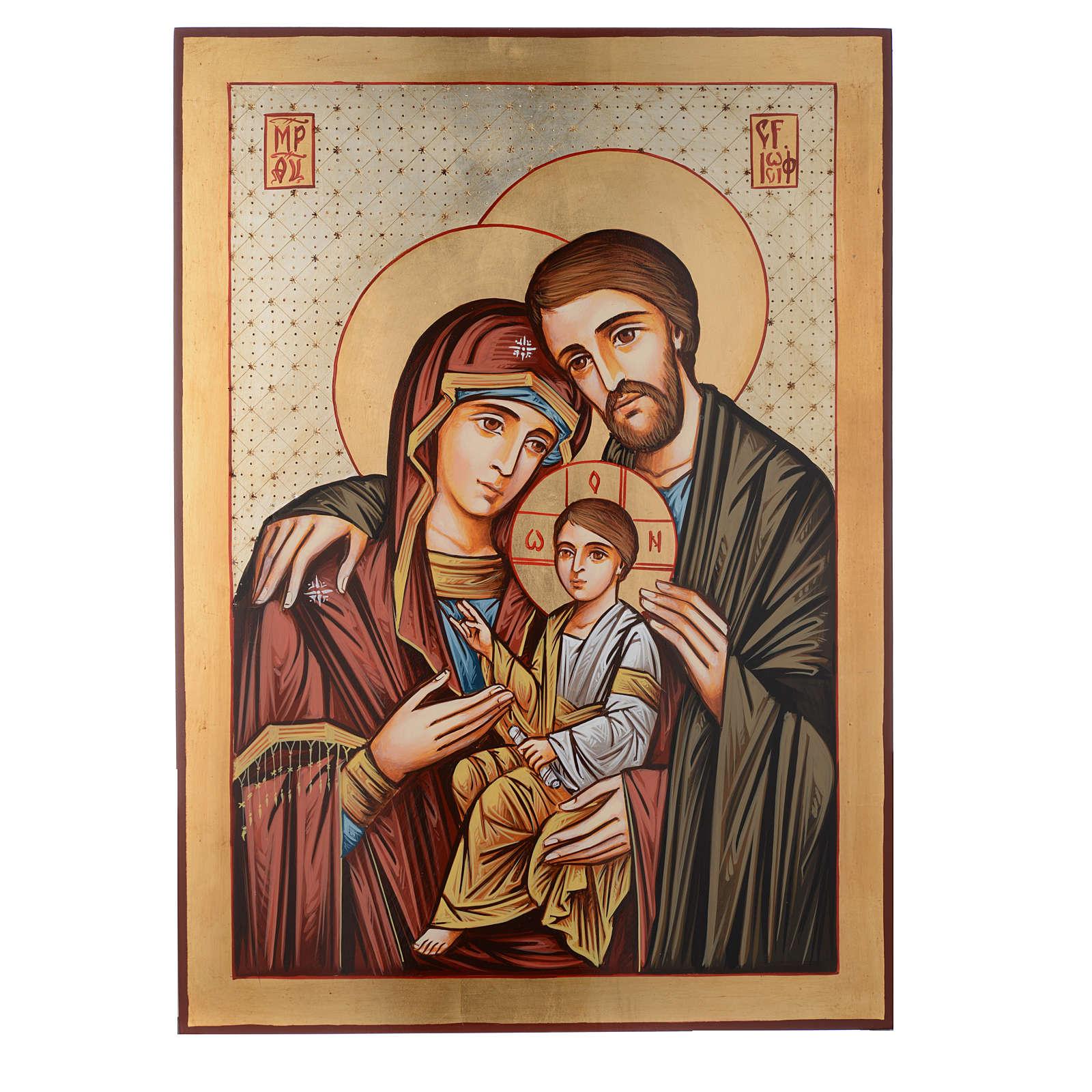 Icona dipinta Romania S. Famiglia 70x50 cm 4