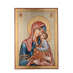 Rumanian hand-painted icons: Romanian painted icon Virgin Hodegetria, decorated 70x50 cm