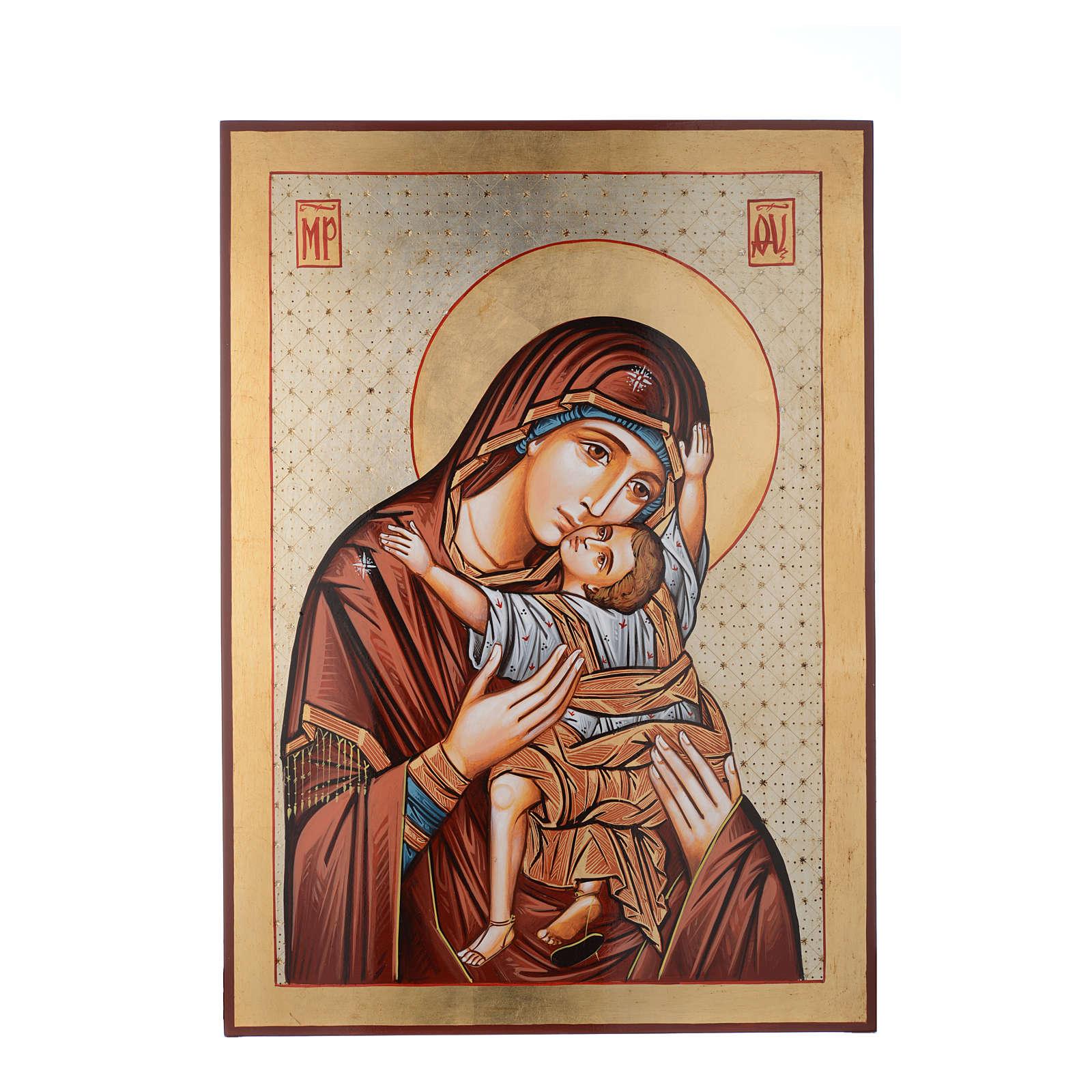 Icona dipinta Romania 70x50 cm Odigitria con decori 4
