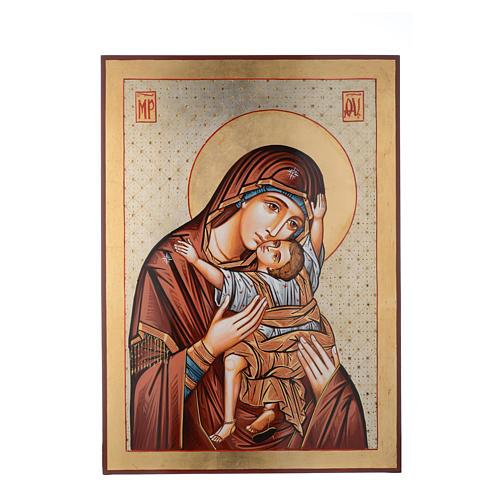Icona dipinta Romania 70x50 cm Odigitria con decori 1