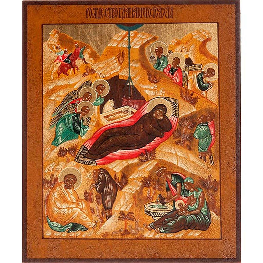 Icona russa Natività antichizzata 22x27 cm 4