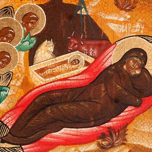Icona russa Natività antichizzata 22x27 cm 3