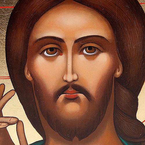 Icona Pantocratore primo piano Russia dipinta cm 22x27 3