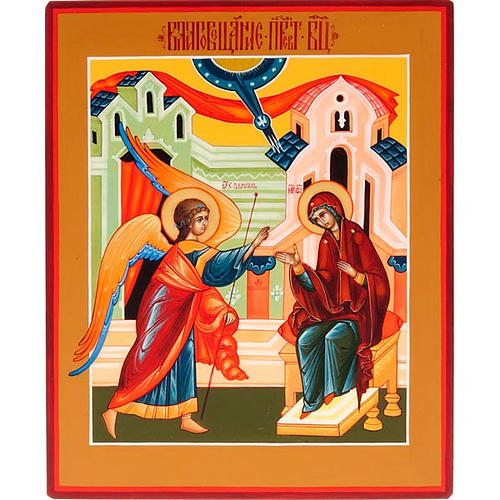 Icona russa dipinta a mano Annunciazione cm 15x18 1