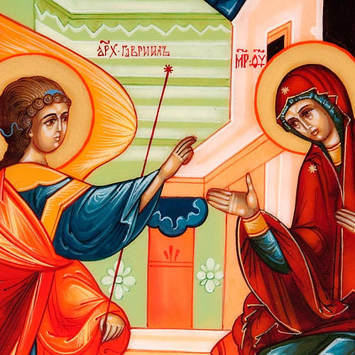 Icona russa dipinta a mano Annunciazione cm 15x18 3